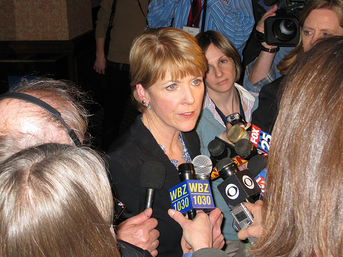 Coakley speaks with reporters following her victory rally Tuesday night at the Sheraton Boston. Click on image for more photos.