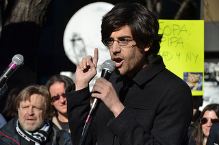 Aaron Swartz in January 2012. Photo (cc) by Daniel J. Sieradski. For details, click on image.