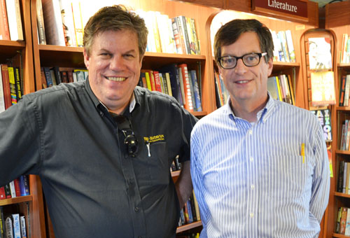 Howard Owens (left) and Dan Kennedy at Present Tense Books in Batavia