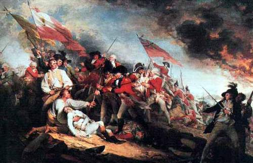 Joseph Warren dying at the Battle of Bunker Hill. Painting by John Trumbull.