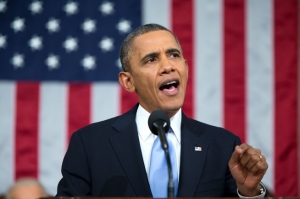 President Obama delivering his State of the Union address.