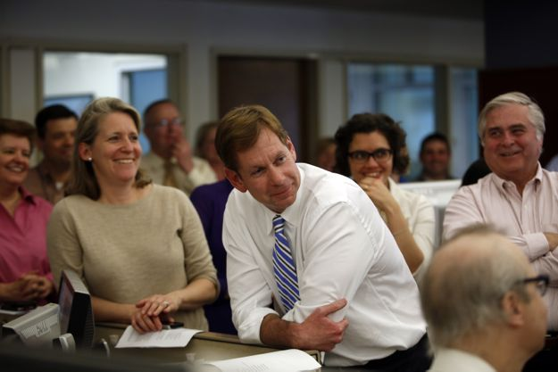Brian McGrory during the Pulitzer announcement.
