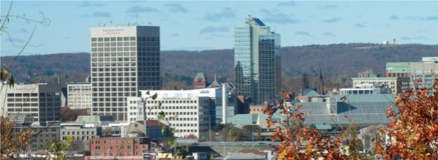 Worcester skyline. The Telegram & Gazette headquarters is the larger building on the left.