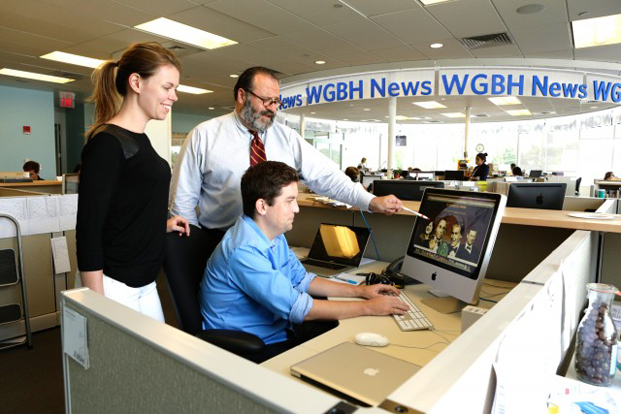 Peter Kadzis, senior editor of WGBH News, with Web producers Abbie Ruzicka and Brendan Lynch.