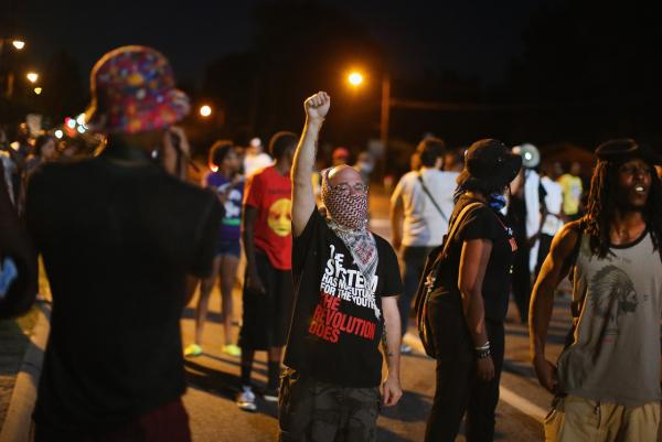 Protesters in Ferguson, Missouri, on Aug. 19.
