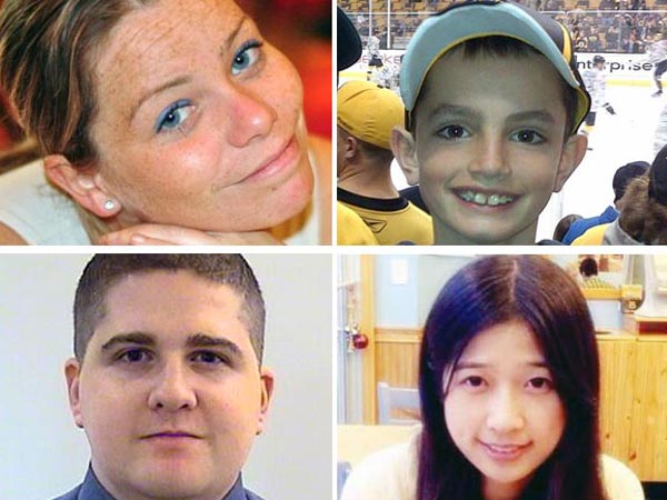 Clockwise from top left: Boston Marathon bombing  victims Krystle Campbell, Martin Richard, Lingzi Lu and shooting victim Sean Collier.