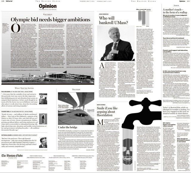 Globe Opinion pages