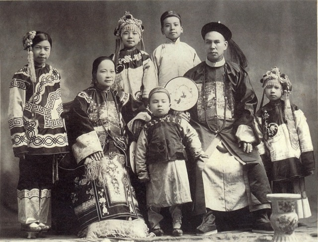 (Courtesy of the Byrom-Daufel family) Most 19th Century Chinese immigrants were single men, but a few families lived in the Portland area. The Byrom-Daufel family of Tualatin retained this portrait, but descendents no longer have the Chinese family name. Scan from print.