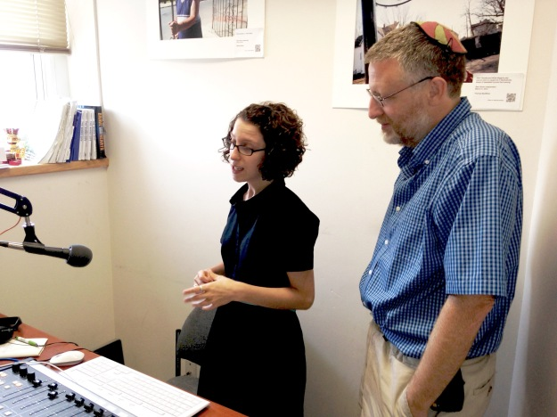 WNHH station manager Lucy Gellman and New Haven Independent editor Paul Bass.