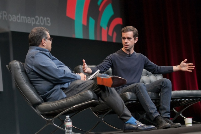 Tech journalist Om Malik interviews Jack Dorsey in 2013. Photo (cc) by JD Lasica.