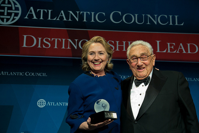 Hillary Clinton and Henry Kissinger at the Atlantic Council Distinguished Leadership Awards 2013. Photo (cc) by the Atlantic Council.