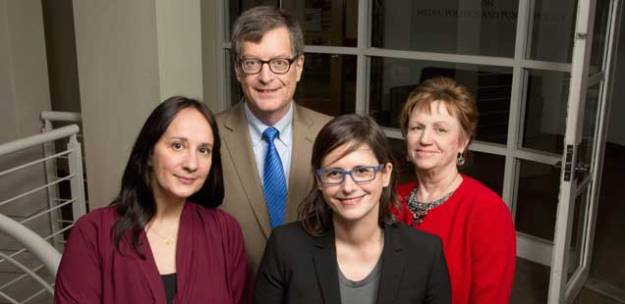 Joan Shorenstein Fellows (from left): Joanna Jolly of the BBC; me; Johanna Dunaway of Texas A&M University; and Marilyn Thompson of Politico.