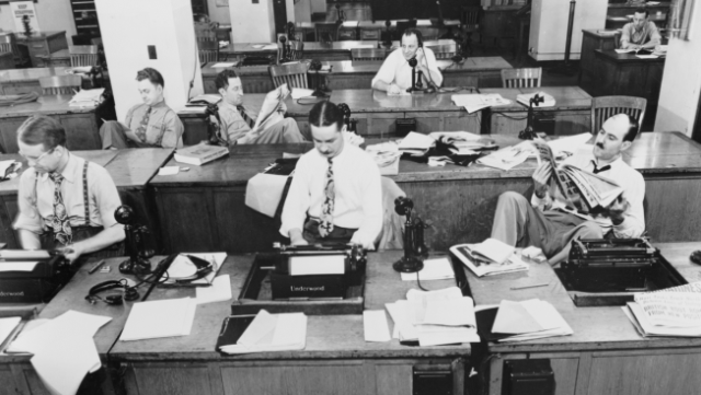 New York Times newsroom, 1942. Photo via Wikipedia.