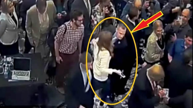 Corey Lewandowski says hello to reporter Michelle Fields earlier this year.