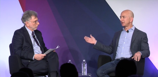 Washington Post executive editor Marty Baron (left) interviews Post owner Jeff Bezos at a recent event.