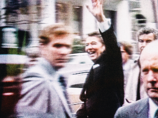 President Reagan moments before being shot by John Hinckley. Photo (cc) by Thomas Hawk.