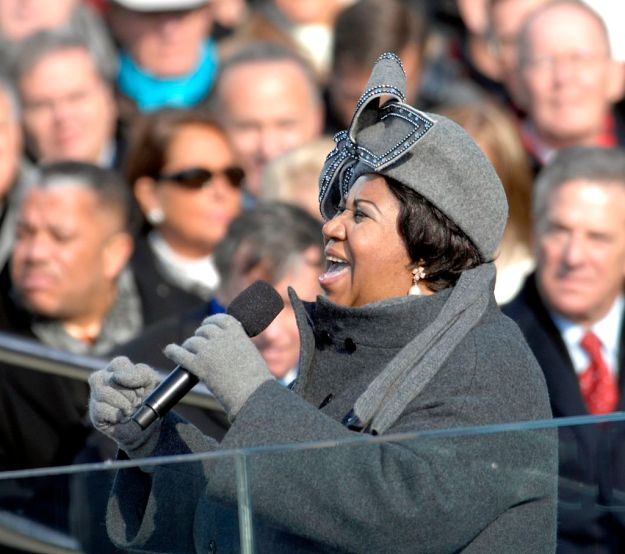 Aretha Franklin performing at President Obama's first inauguration in 2009. Photo via the US Air Force.