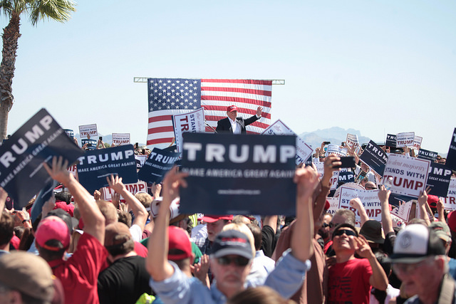 Trump rally in Arizona earlier this year. Photo (cc) 2016 by Gage Skidmore.