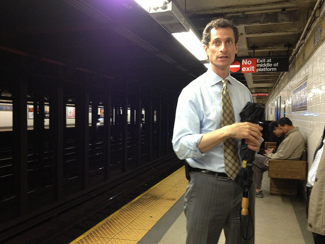 Anthony Weiner during his New York mayoral campaign. Photo (cc) by Azi Paybarah.