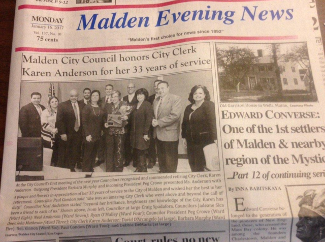 The Malden Evening News. Photo via Wicked Local, from the News' now-defunct Twitter account.